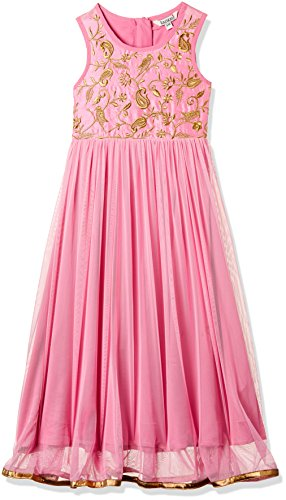 Karigari Girl's A-Line Regular Fit Cotton Salwar Suit Set (273037749 _Pink_07Y)