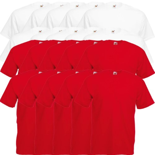 Fruit of the Loom Original Valueweight T Rundhals T-Shirt F140 5er 10er 15er 20er Pack 10x white 10x red