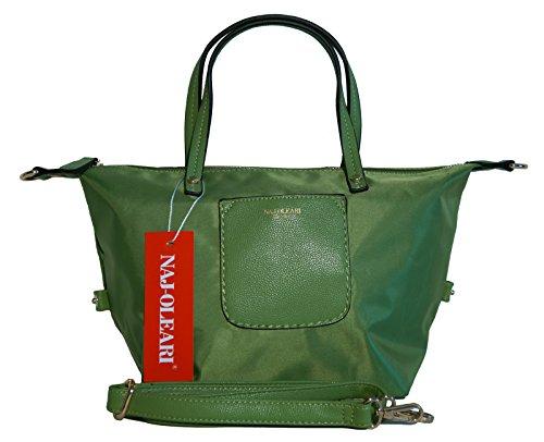 Borsa donna Naj-Oleari in nylon modello shopper/bauletto misura piccola verde