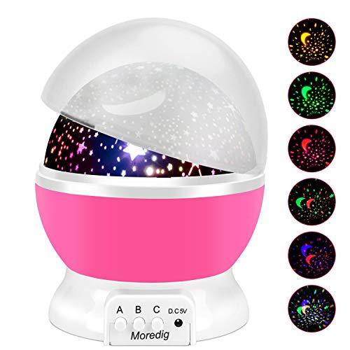 Moredig 360 Grados Rotación Proyector Lámpara Estrellas, Romántica luz de la Noche y 8 Modos, Regalo para Niños y Bebés Cumpleaños, Día de los Reyes, Navidad, Halloween etc - Rosa (Rosa)
