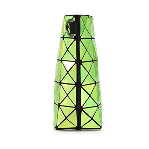 flada damen - handtaschen aus leder geometrischen teilen gemeinsame karierten umhängetaschen für frauen diamanten gitter kreuz leichensäcke mit kette hologramm silber hologramm grün