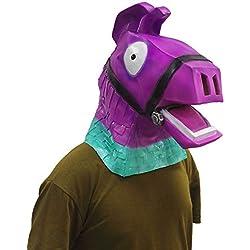 Fortnite Máscara Cabeza Llena Alpaca Máscara Látex para Navidad Accesorios Cosplay Partido (Morado)
