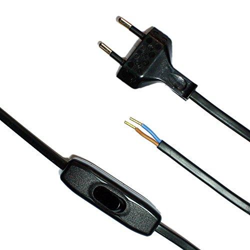 Anschlusskabel mit Stecker und Schalter Schwarz 1,50m Zuleitung Netzkabel Stromkabel mit Schnurzwischenschalter und Eurostecker 2x0,75qmm 250V SW