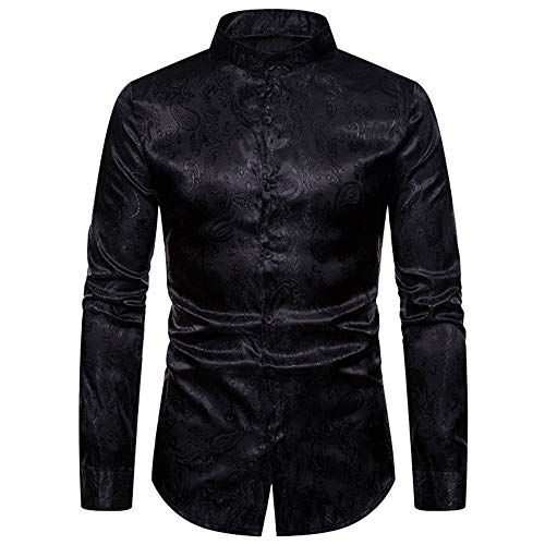 Mandarin Kragen Smoking Hemd (Aiserkly Herren Herbst Senior Henley Kragen Besticktes Langarmhemd für Freizeit Business Hochzeit Schwarz S)