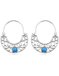 Sleeping Beauty Turquoise Filigree Hoop Earrings in Sterling Silver.