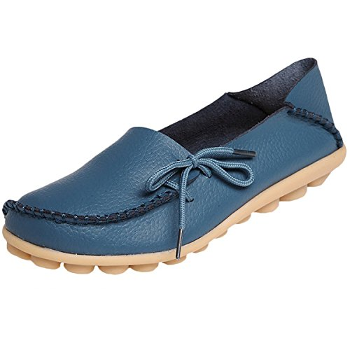 Scarpe Sandali Barca Comodi Piani Morbida In Mocassino Hishoes Azzurri Donna Mocassini Casuali Pelle Da TSqpxaB0n