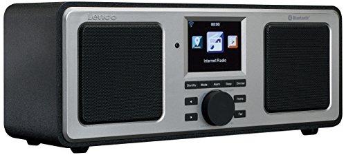 Lenco DIR-150 Stereo UKW- und Internetradio WLAN mit Bluetooth, Radiowecker und Wettervorhersage (7 cm TFT Farb-Display, USB, 2 Weckzeiten, UPnP kompatibel, AUX-Eingang, Line-Ausgang, Fernbedienung)