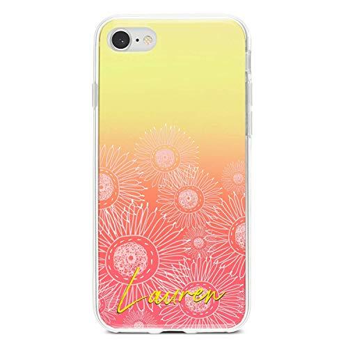 Kundenspezifische personalisierte Handyhülle mit Initialen oder Namen, passt iPhone, Samsung Galaxy, Huawei, Honor und Pixel - coral ombre Blumen -