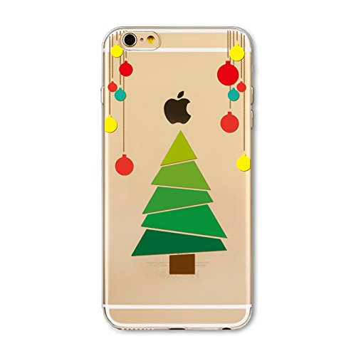 Christmas Hülle iPhone 7 Plus / iPhone 8 Plus LifeePro Weihnachts Cover Ultra dünn Weiches Transparent TPU Gel Silikon Handy Tasche Bumper Case Anti-Scratch Back Cover Full Body Schutzhülle für iPhone Christmas Tree and Balloons