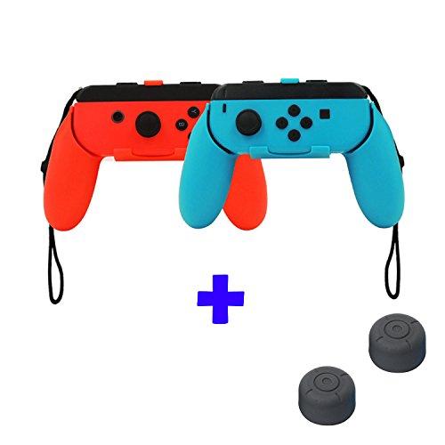 QUMOX Controlador Grip Joystick - Rojo/Azul & Cubiertas de palo de aga