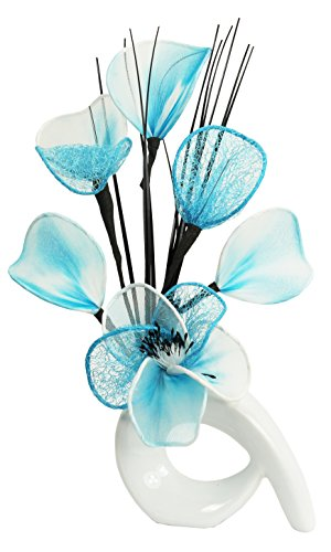 Flourish 798635QH1Vase, mit künstlichen Nylonblumen, 32cm White/Teal Blue & White (Türkis Blumen)