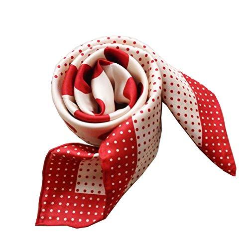 laprée - Schal Seide Damen au 100% Seidentwill hochwertiger Seidenschal Tupfen Punkte Polka Dot 90 * 90cm Rot Weiß 90 * 90 cm (Rot Schal Dot Polka)