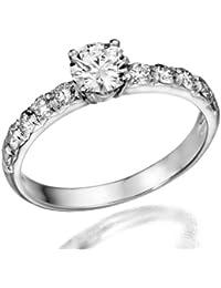1ctw. Rund Diamant Solitaire Engagement Ring in 18K Weiß Gold