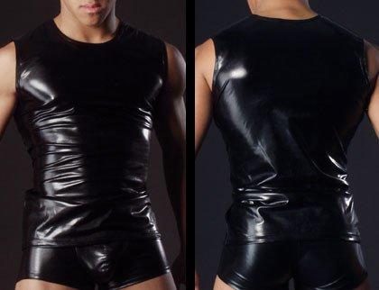 GS~LY confortevoli ed esclusive di intimo uomo abbigliamento intimo in finta pelle brevetto giubbotto in pelle , nero , s  Acquista 2 ottenere 1