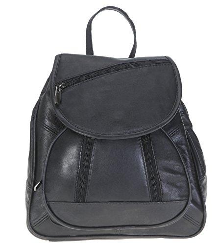 Bag Street Rucksack schwarz Leder-Damenrucksack mit Fee-Anhänger OTJ600S -
