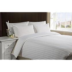 Juego de cama Hachette de 3piezas par cama grande tamaño Super King Size, consta de funda de edredón satinada a rayas de algodón egipcio y fundas de almohada de 400 hilos
