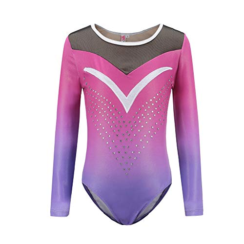 Gyratedream Body Suits Gymnastics Ballet Practice Dance Wear Long Sleeved Bright Color Body Suits Competition Clothes Girls Models
