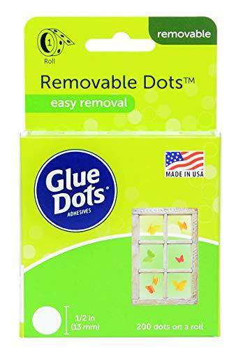 Glue Dots Removable Doppelseitige Klebepunkte, Rolle mit 200 Punkten, Ablösbar, Rund, 13 mm, Vielseitige Verwendung, DIY Basteln und Scrapbooking