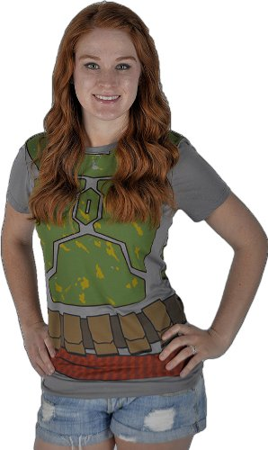 Damen Fett Boba Kostüm - Mighty Fine Damens Ich Bin Boba Fett Kostüm Juniors T-Shirt (Junioren Große)