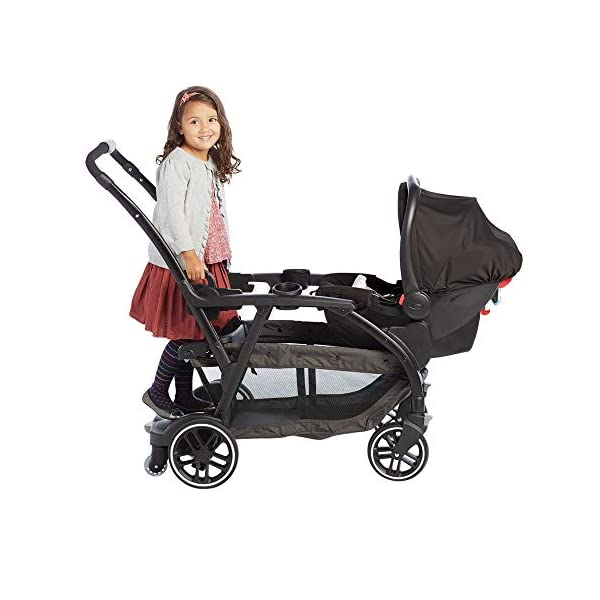 Graco Modes Duo Tandem Pushchair, Shift Graco 27 riding options for 2 children from infant to toddler; click connect attaches with all graco snug ride/essentials infant car seats. suitable from birth to 13kg (approx. 3 years) Two removable, multi-position reclining seats can be positioned rear or forward facing; the built-in bench seat gives your big kid a place to rest; both front and rear seats hold up to 15kgs One-hand standing fold, folds with seats on or off; locking front swivel wheels for superior manoeuvrability; one-step brakes make stopping, and going again, quick and easy 12