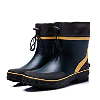 Rain Boots Mens Low Rubber Waterproof Non-Slip Comfort Keep Warm Shoes for Outdoors Wet Weather