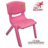 A406 Children Strong Stackable Kids Plastic Chairs Picnic Party Garden Nursery Club Indoor Outdoor (Pink, 1)