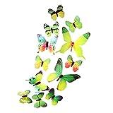 OHQ 12PC Papillon Costume 3D Diy Stickers Muraux Autocollants Papillon DéCor À La...