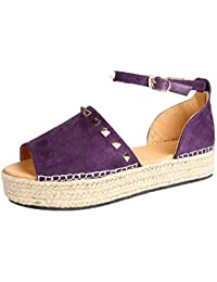 dabf438f8c6 HHei K Women s Fish Mouth Weaving Rivet Wedge Sandals RoShoes Buckle  Thick-Bottom Flat Platform Sandals