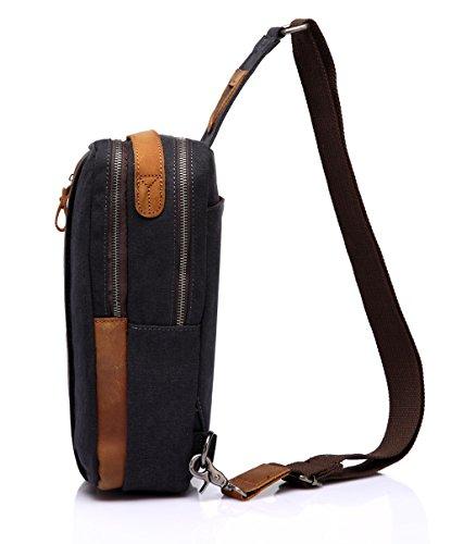 Vaschy Pelle Tela Sling sacchetto esterno di viaggio militare Messenger Cross-cassa corpo Bag spalle bicicletta Escursionismo Bag-Grigio scuro Grigio