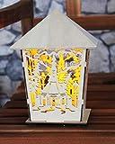 Stimmungsvolle XL - Laterne aus Holz Höhe 18 cm x Breite 15 cm - zauberhaft und hochwertig aus HOLZ gefertigt - edel und hochwertig - Naturholz - wunderschönes Dekorationslicht mit LED - für den Innen - Bereich - aus dem KAMACA-SHOP