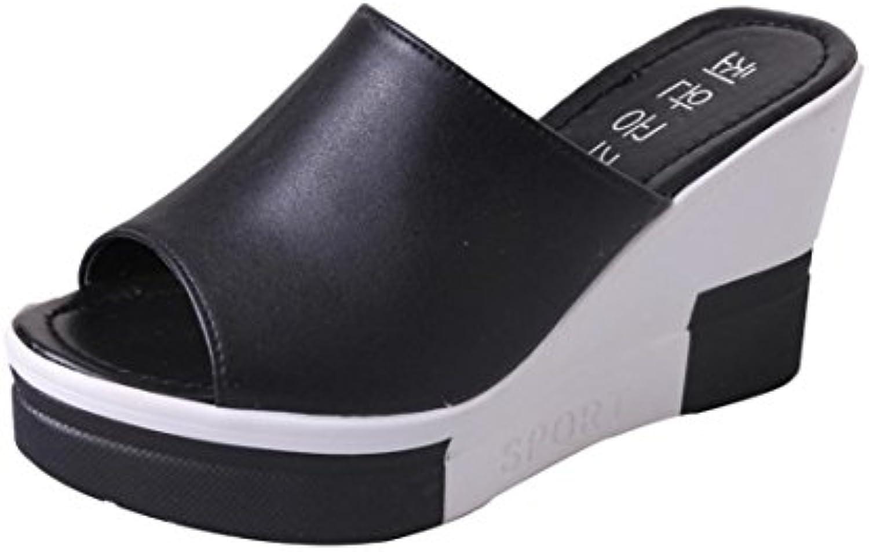 LANDFOX Frauen Keil Pantoffel Damen Sommer Sandalen Schuhe Peep-Toe Schuhe Römersandalen Damen Flip Flops Strandschuheö
