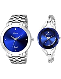 Jainx Blue Dial Round Analogue Watch for Couple - JC455
