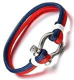 """Halukakah ● Voile ● Hommes Corde en Nylon Multicouche Bleu Mix Rouge Fait Main Fermoir à Vis Argent 8.26""""/21cm avec Le Boîte-Cadeau Gratuit..."""