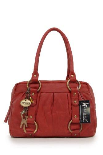 Catwalk Collection Handbags Borsa con manici, Donna, Rosso