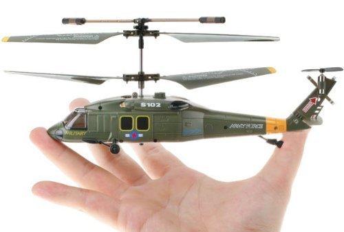 Lujex(TM) Syma S102G UH-60 Helikopter Heli Hubschrauber Baneful Hawk Military 3 CH-Kanal IR-Fernbedienung RC Hubschrauber mit Gyro RTF