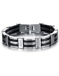 IBEGEM Bracelet tendance noir silicone homme en acier inoxydable argent circonférence 21cm- Cadeau Saint Valentin Anniversaire
