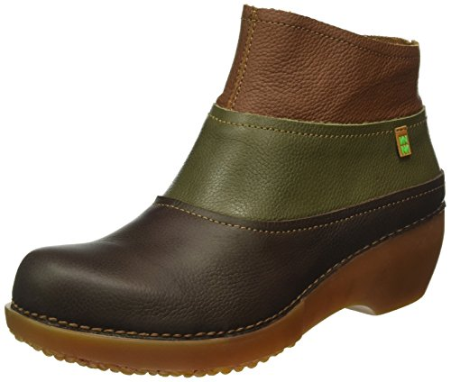 El Naturalista Damen NC79 Soft Grain Black-Kaki-Grafito/ Tricot Schlupfstiefel Mehrfarbig (BROWN-KAKI-WOOD NV4)