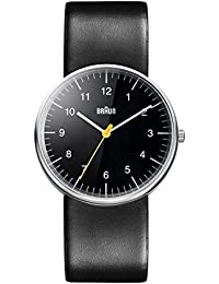 Braun Men's Three Hand Movement Quartz Watch with Black Dial Analogue Display and Black Leather Strap BN0021BKBKG