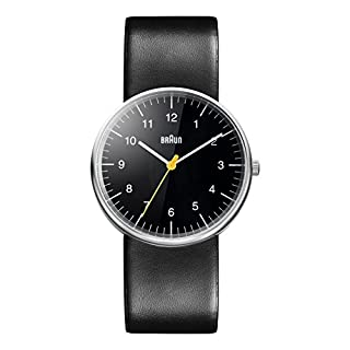 Braun Men's Three Hand Movement Quartz Watch with Black Dial Analogue Display and Black Leather Strap BN0021BKBKG (B004X4KVUI) | Amazon Products