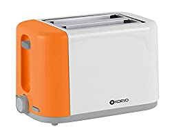 Koryo KPT1270BCO 2 Slice Pop up Toaster - Orange & White - 750 W with Reheat & Defrost Function