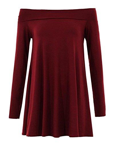 Chocolate Pickle ® Femmes Plus Size Encolure évasée à manches longues Robe trapèze 36-48 Wine