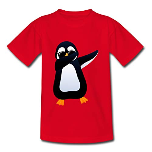 Spreadshirt Dabbing Pinguin Dab Sonnenbrille Teenager T-Shirt, 134/146 (9-11 Jahre), Rot