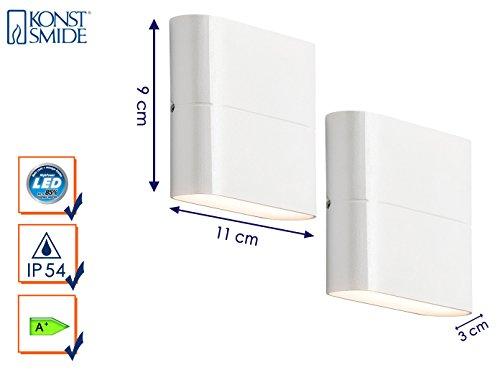 KONSTSMIDE 2er-Set Up-/Down Außenwandleuchten CHIERI, Aluminium weiß, 6 Watt-LED, 450 Lumen; 7972-250