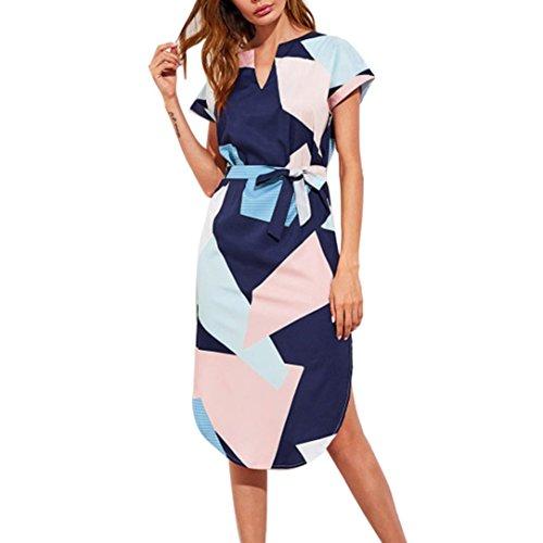 Kleid Damen,Sannysis Frauen-beiläufige Kurze Hülsen-V-Ausschnitt Gedrucktes Maxi Kleid mit Gurt (Mehrfarbig, S) (Mini-kabel Pullover)