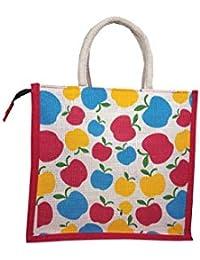 Apple Print Jute Bag For Lunch Multipurpose Unisex Bag For Shopping,Grocery,Office,Everyday Use,Gift(Red,Medium)