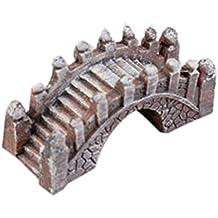 Ornement de jardin miniature Stone Bridge Figurine usine Résine Pots Jardin Decor-Rouge foncé