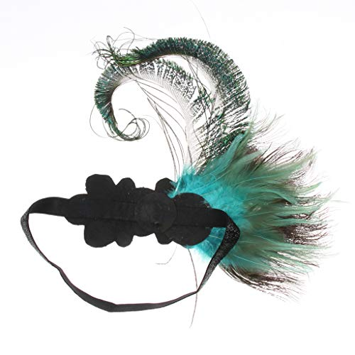 F Fityle Frauen Vintage 1920er Jahre Pfau Flappers Haarband Stirnband Feder Haarschmuck Gatsby Kopfbedeckung Kostüm ()