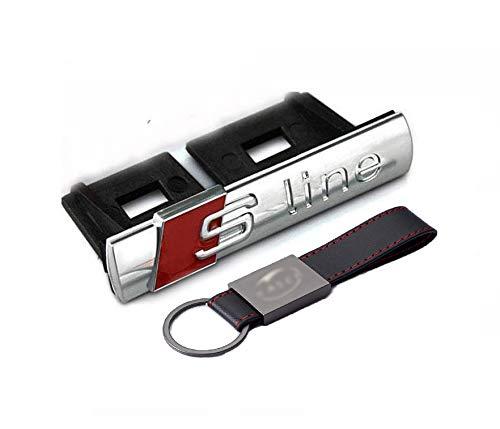 Stemma Fregio S-Line (70 * 14 mm) Griglia Anteriore Emblema per Audi A3 A5 A7 Q3 Q5 Argento Cromato【+ Portachiavi Pelle】