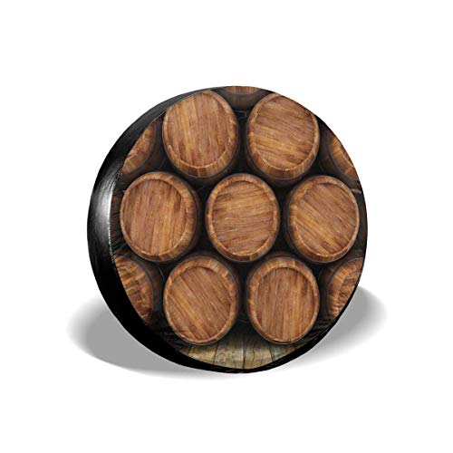 YuYfashions Reifenabdeckung Tire Cover Wheel Covers Wall of Wooden Barrels Wine Stack Storage Gallon Antique Vintage Container Rustic Design for SUV Truck Camper Travel Trailer Accessories(14 15 16
