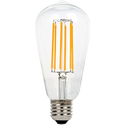 NATIONALMATER ST64 8W Vintage Lámpara de Techo, Retro Bombilla de filament LED Bulbo, Estilo de Edison Bombilla, E27 Base, 500 Lúmenes, Blanco Cálido 2200K, Equivalente a 60W Bombilla Incandescente (1-PACK)